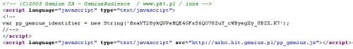 Zrzut ekranu kodu Gemius Audience na stronie PKT.pl