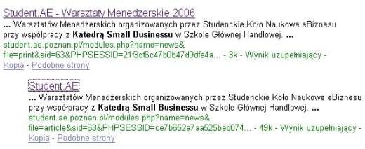 Zrzut ekranu wyników wyszukiwania Google
