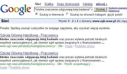 Zrzut ekranu serwisu SGH.waw.pl