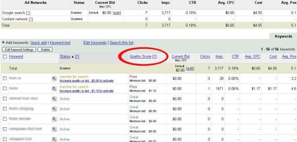 zrzut SEM 1 Quality Score w panelu AdWords