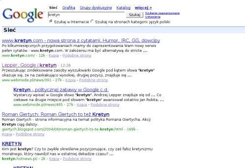Google bombs dla kretyn obecnie