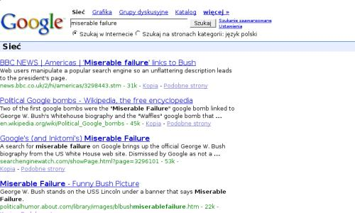 Google bombs dla miserable failure