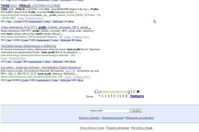 Zrzut ekranu wyników wyszukiwania dla hasła tanie pralki