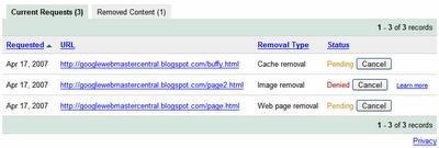 urlremovala Narzędzia dla webmsterów Google   nowe funkcjonalności