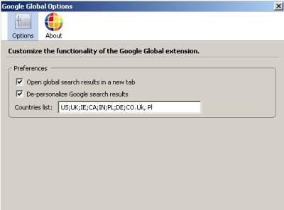 google global 5 Google Global   wtyczka geolokalizacyjna dla Google w Firefox