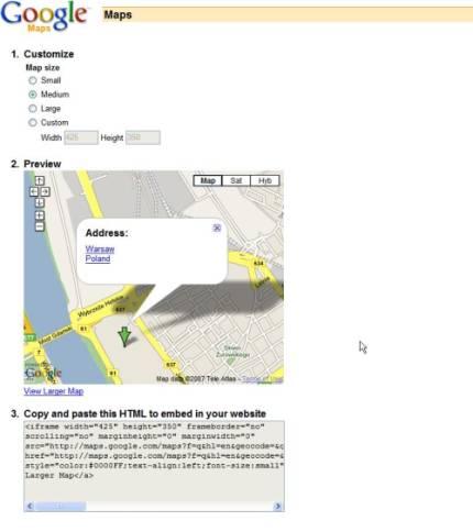 Mapa Google - modyfikacje i zmiany