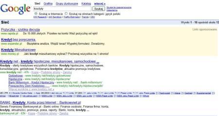 Zrzut ekranu linków sponsorowanych AdWords ponad wynikami wyszukiwania