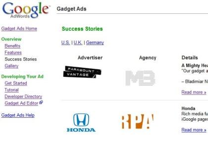 Google Gadget Ads Stories