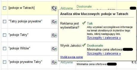 analiza slowa kluczowego Strona analizy słów kluczowych w intefejsie AdWords