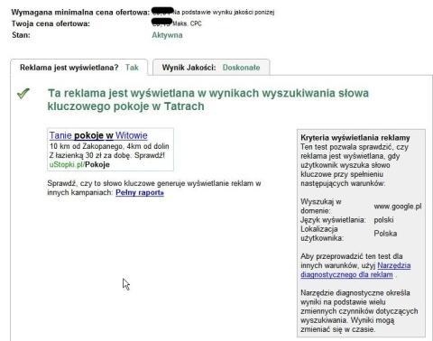 slowo kluczowe analiza male Strona analizy słów kluczowych w intefejsie AdWords