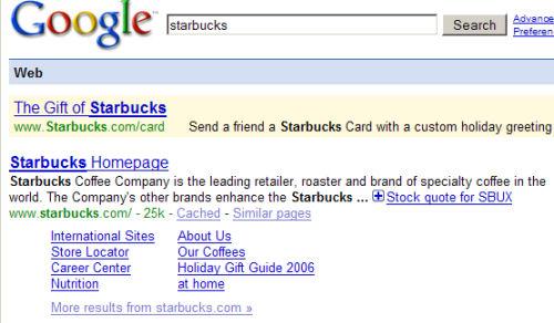 Opis wyniku wyszukiwania starbucks w Google