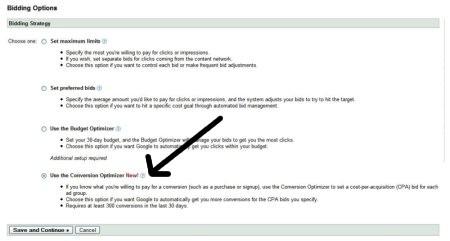 Optymalizator konwersji w interfejsie AdWords