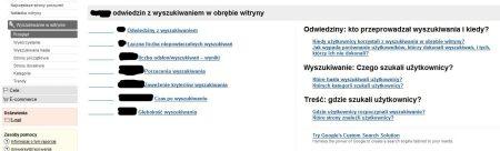 Śledzenie wyszukiwania w interfejsie Google Analytics