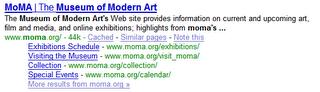 Dawna wersja Site links w Google