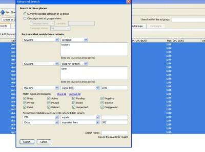 Wykorzystywaniu zaawansowanych funkcjonalności filtrowania w w Edytorze AdWords
