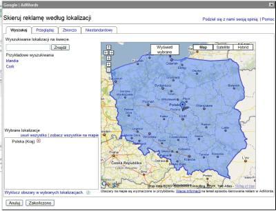 adwords lokalizacja 2 Kierowanie reklamy AdWords   szczegóły