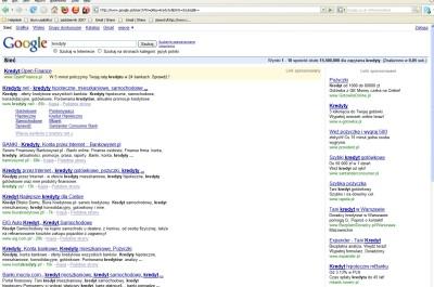 Reklamy widziane w Google.pl z polskim językiem interfejsu