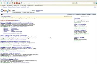 Reklamy widziane w Google.pl z rosyjskim językiem interfejsu