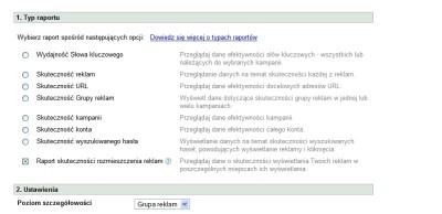 Raport skuteczności wyszukiwanego hasła w AdWords