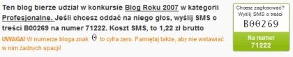 Udział bloga Marketing w Internecie w konkursie Blog Roku 2007