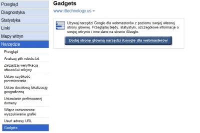 Dodanie gadżetu Google dla Webmasterów do iGoogle