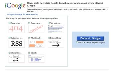 Wybranie opcji w gadżecie Google dla Webmasterów