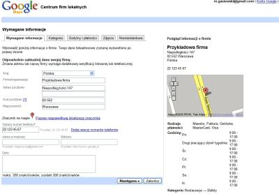 Edycja firmy w polskiej wersji Google Maps