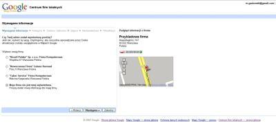 Dodanie firmy do polskiej wersji Google Maps - krok Wymagane informacje