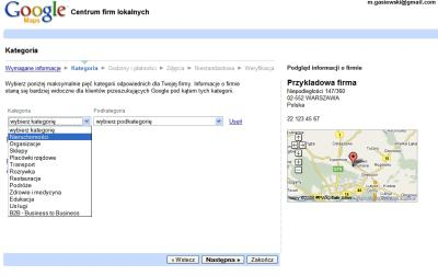 Dodanie firmy do polskiej wersji Google Maps - krok kategorie