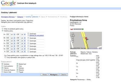 Dodanie firmy do polskiej wersji Google Maps - krok godziny i płatności