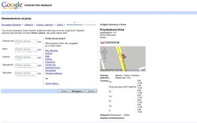 Dodanie firmy do polskiej wersji Google Maps - krok dodawanie niestandardowych informacji