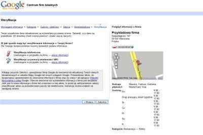 Dodanie firmy do polskiej wersji Google Maps - krok weryfikacja