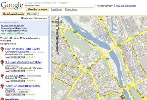 Widok mapy w polskiej wersji Google Maps