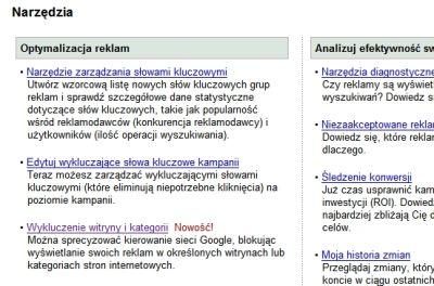 wykluczenie witryny adwords 2 Wykluczenie witryny i kategorii w interfejsie Google AdWords