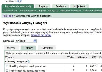 wykluczenie witryny kategorii Wykluczenie witryny i kategorii w interfejsie Google AdWords