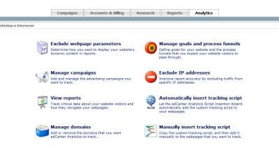 adCenter analytics - panel zarządzania danymi