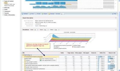 adCenter analytics - panel treści witryny
