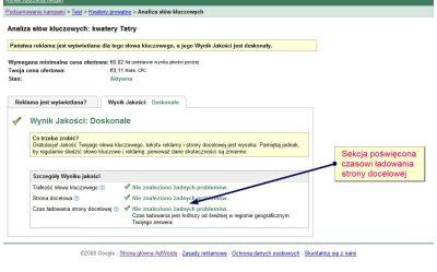 Czas ładowania strony w interfejsie Google AdWords