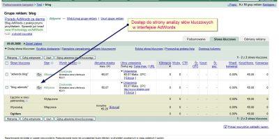 dostep strona analizy adwords 2 Czas ładowania strony docelowej w interfejsie Google AdWords