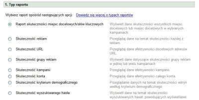 Raporty w interfejsie Google AdWords