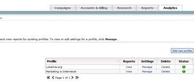 adCenter analytics - widok profili