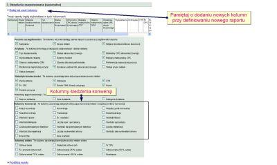 Kolumny śledzenie konwersji AdWords przy definiowaniu raportu