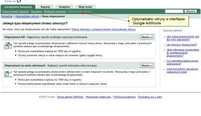Optymalizator witryny w interfejsie AdWords