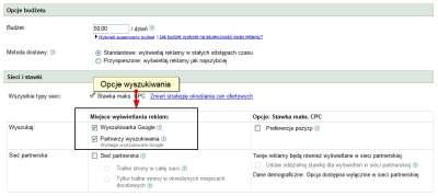 Opcje ustawień kampanii w koncie Google AdWords