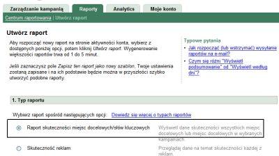 Raport słów kluczowych w koncie Google AdWords
