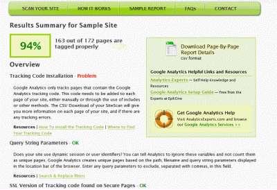 Narzędzie do walidacji kodu Google Analytics SiteScanga