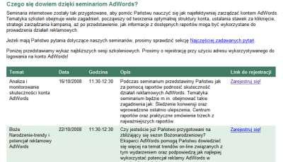 szkolenia adwords Polskie szkolenia Google AdWords w Internecie