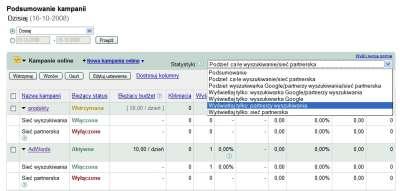 widok adwords Statystyki dla Partnerów wyszukiwania Google