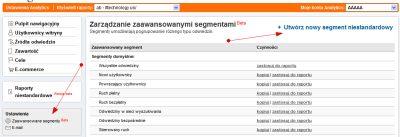 Segmenty niestandardowe w Google Analytics - tworzenie segmentu