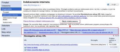 bledy indeksowania 2 Narzędzia dla Webmasterów   12 powodów, dla których warto je mieć